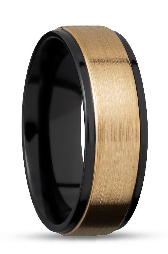 Black And Gold Wedding Rings For Men Modern And Sleek Made With Zirconium And White Gold Customize Black Wedding Rings Mens Wedding Rings Black Gold Wedding