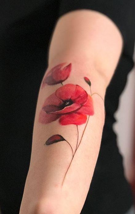 Gorkem Tuysuz Poppy Flower Tattoo Coquelicot Tatouage Tatouage