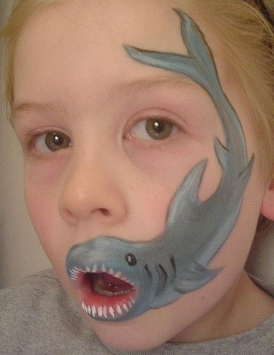 Shark. Cool Face Painting Ideas For Kids, which transform the faces of little ones without requiring professional quality painting skills.