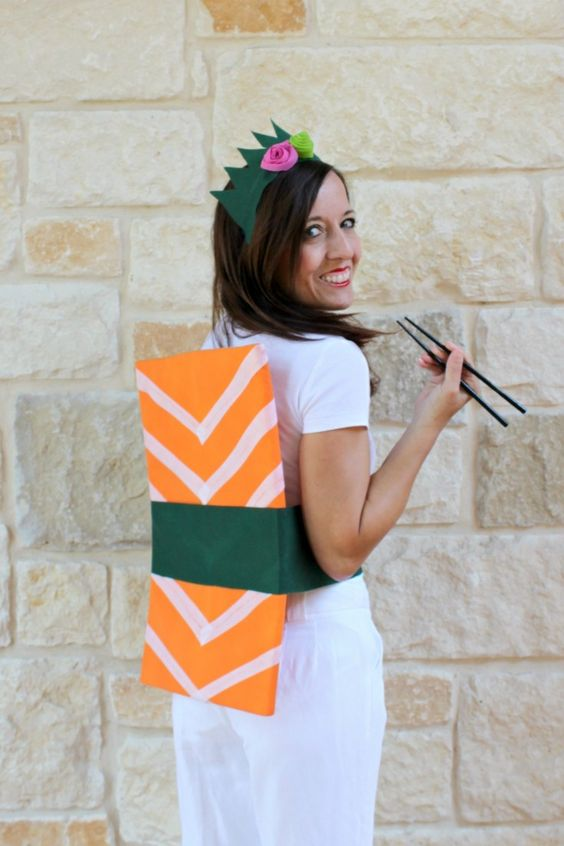 This fun sushi Halloween costume is easy to make and fun to wear.  Be the hit of the office costume party with this unique costume that you can make in less than an hour!:
