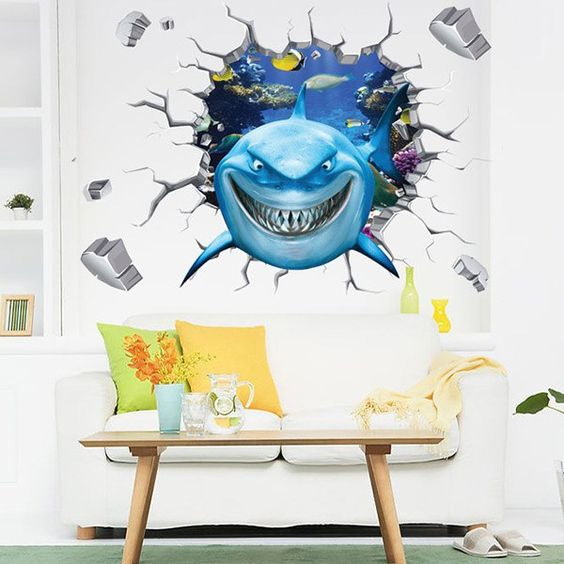 high quality colorful shark pattern removeable waterproof 3d wall