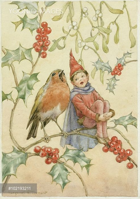 'Christmas Duet' - Elf and Robin Singing on a holly branch with mistletoe. Christmas card.