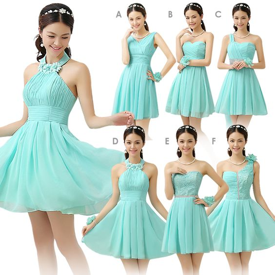 Mint Green Bridesmaid Dress Short Design Chiffon Country Style ...