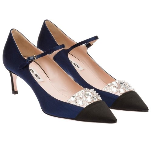 Miu Miu Jeweled Satin Point Toe Mary Jane Pump Navy