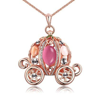 Hoy con el 66% de descuento. Llévalo por solo $63,400.Zircon Faux Opal Embellished Rose Gold Plated Women Long Necklace.