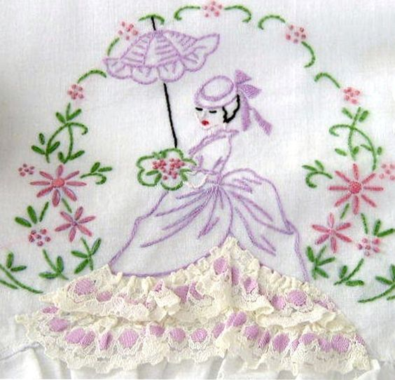 Southern belle pillowcase eyelet embroidery transfer