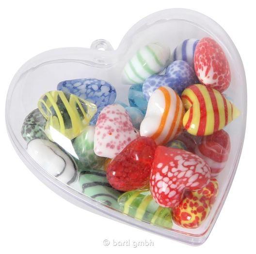 Bartl, Glas-Herzen klein gemischt, 24-tlg. in Herzbox, Zum Dekorieren und Verschenken | 110992