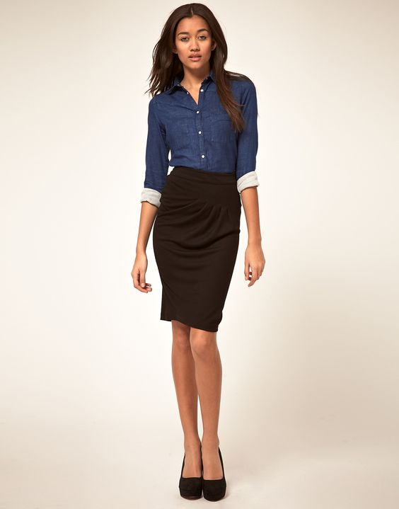 A cute way to wear Chambray for work: