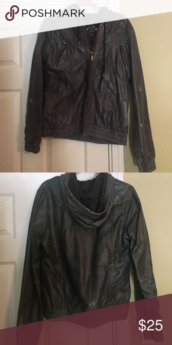 O'neil jacket O'neail leather jacket with hood, made to look distressed O'Neill Jackets & Coats