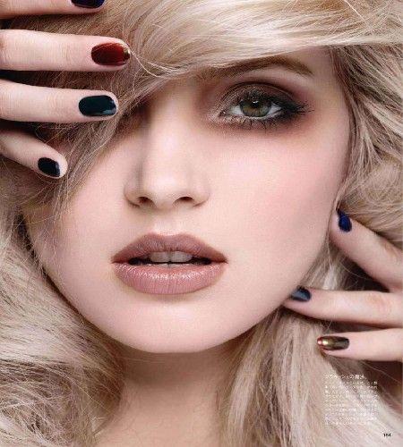 evening makeup - beautiful brown smoky eyes with nude lip