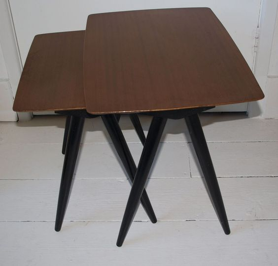 Vintage Pair of Nested Tables, Scissor Legs, Teak, Retro 1950s Rare in Home, Furniture & DIY, Furniture, Tables | eBay