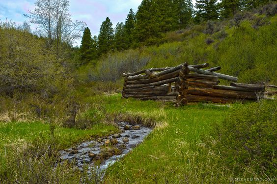 Old Log Cabin by Creek, Kittitas County, Washington, 20112 | Click the picture above for information on purchasing a fine art photography wall print for your home. | #rural