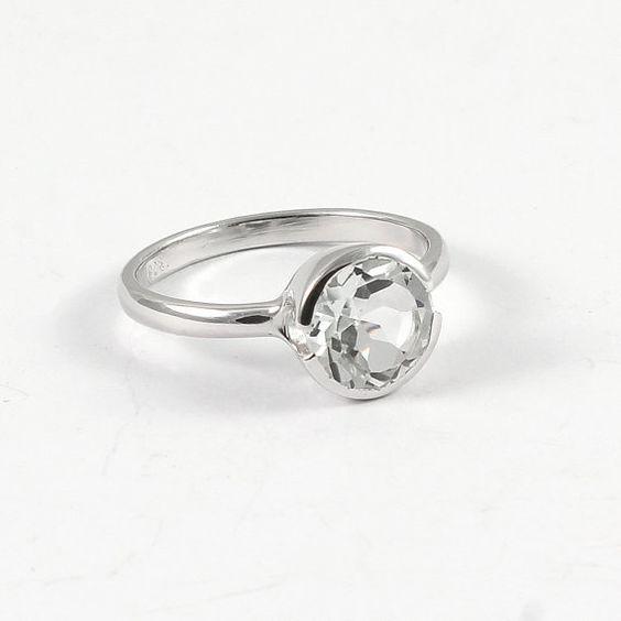 White topaz engagement ring Sterling silver white topaz solitaire Diamond…
