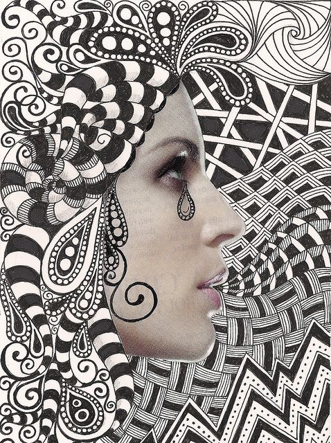 Take a magazine picture and zentangle around it.  Or kids' photograph.
