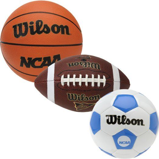 Wilson NCAA 3 Ball Mini Pack Football Basketball Soccerball