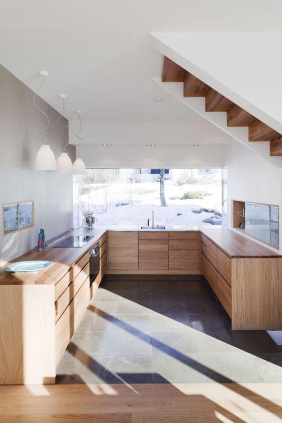 Cocina abierta sin muebles altos acabado para muebles for Muebles altos de cocina