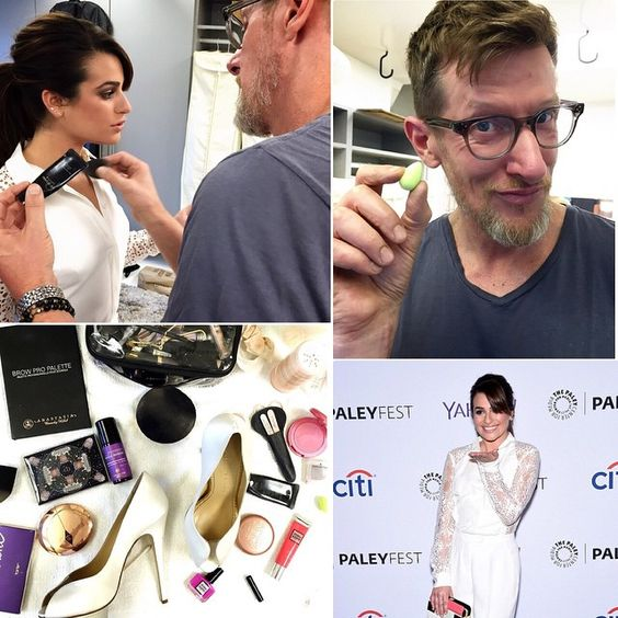 """""""#BTS last nights #glamfest before the #PaleyFest! @makeupmatthew primps and primes @msleamichele before the #redcarpet and panel. Matthew's #beauty tried…"""""""