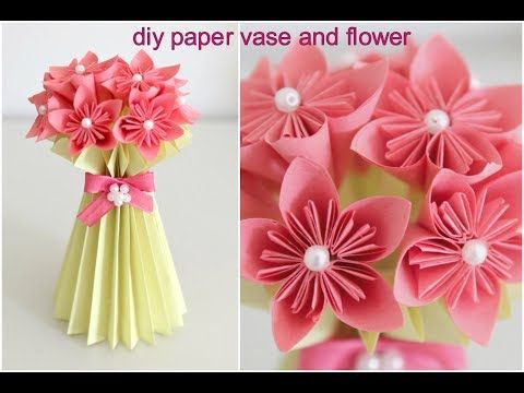 Diy Paper Flower Vase And Flower Easy Diy Paper Craft