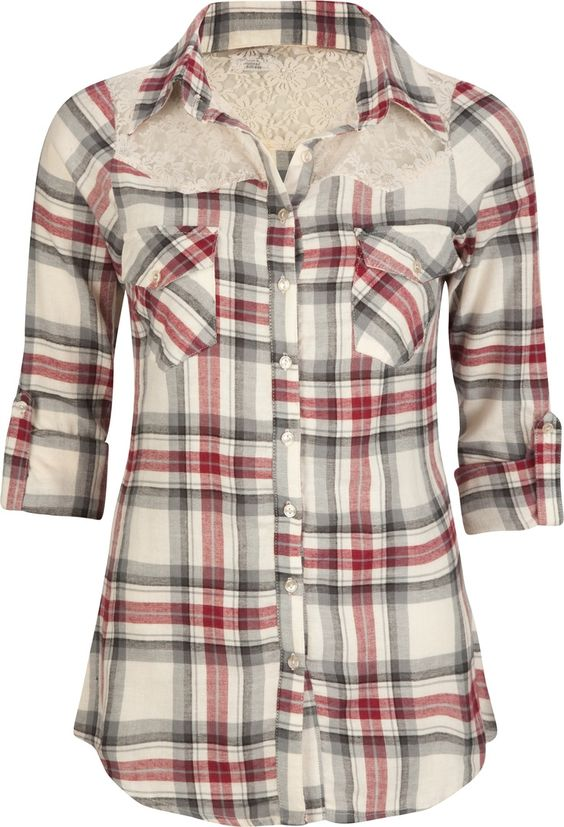 Love the lace on plaid women 39 s shirts womens for Country girl flannel shirts