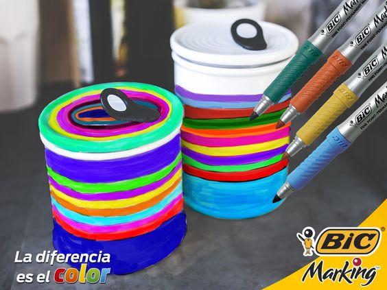 Organizar tu cocina con latas de aluminio es fácil. Tus BIC Marking pintan sobre cualquier superficie. ;) #LaDiferenciaEsElColor #BIC #BICMarking #BICMarkit