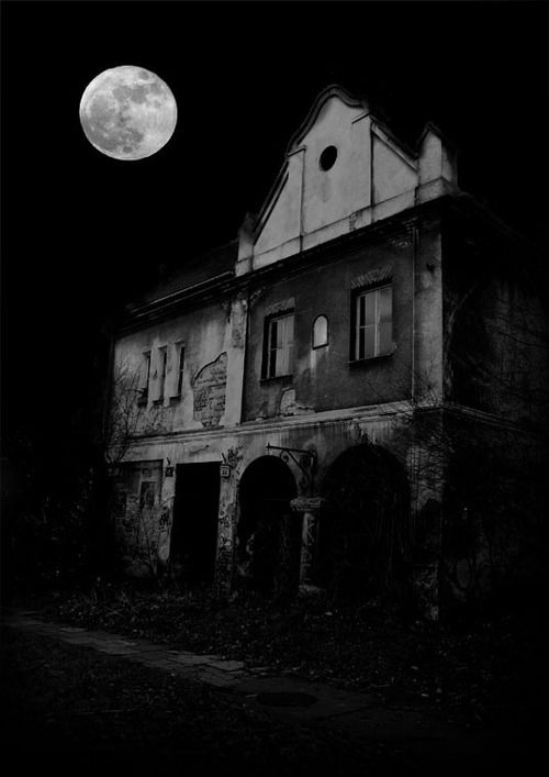 Eerie Full Moon and the Abandoned House. Black and White ...