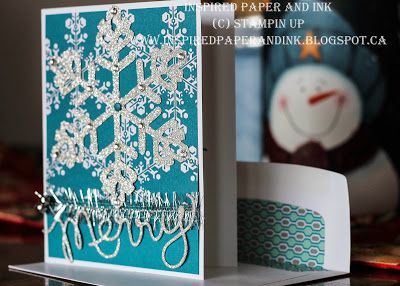 Christmas Card #3, Stampin UP Christmas card using bigz snowflake die and expression thinlits.
