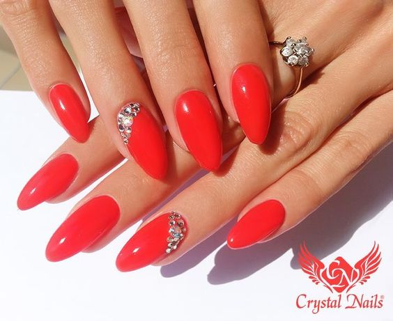 Classic Red Almond Nail from Crystal Nails | Crystal Nails ...