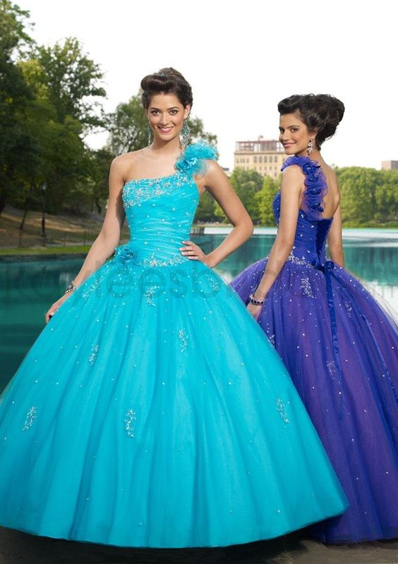 Tulle One Shoulder Beaded Bodice Quince Dress