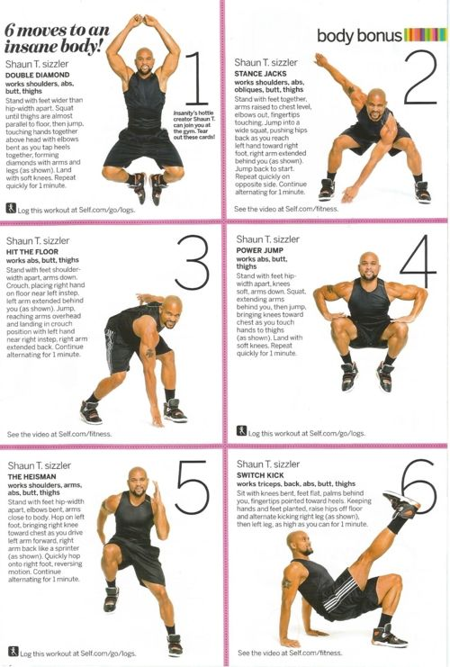 20 Minute Insanity workout...it really is insane, you've made yourself got , so challenge yourself to any one of these insanely insane insanity workouts, and put on some more tone!