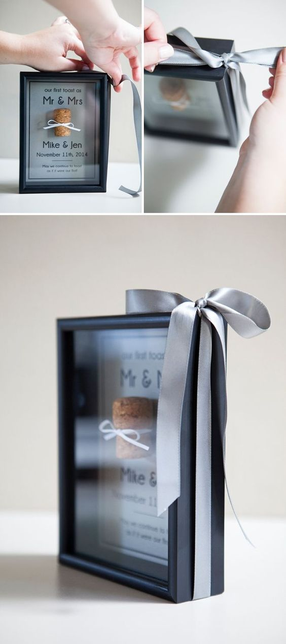 DIY Wedding // Frame your very first champagne/wine cork as Mr & Mrs! Very cute idea.