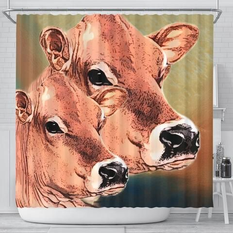 Jersey Cattle Cow Print Shower Curtain Free Shipping Womens