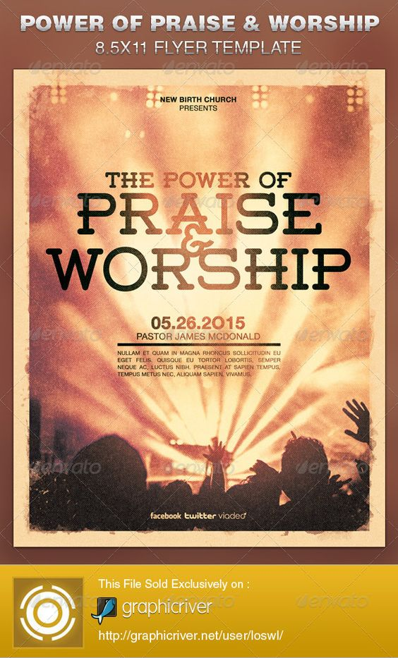 Praise And Worship Flyer Template And Flyers On Pinterest