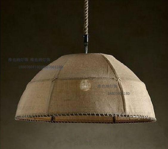 Giardino mano tessuto di lino decorazione lampada a sospensione di ...