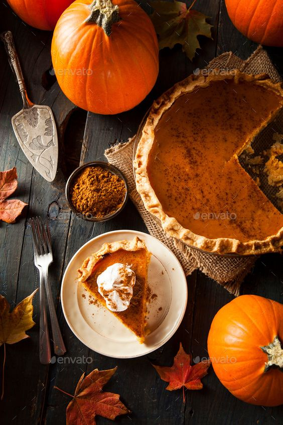 Homemade Pumpkin Pie for Thanksigiving - Stock Photo - Images