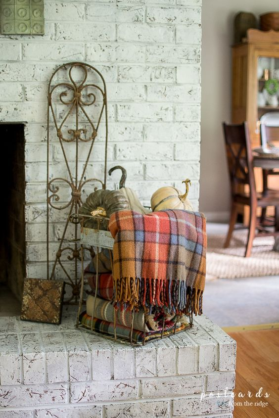 Fall Mantel with Plaids, Metals, and Farmhouse Charm