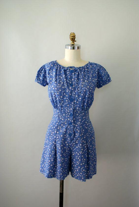 Vintage 1950s Romper - Blue Cotton Flower Print Romper - Summer Sun Playsuit. $58.00, via Etsy.