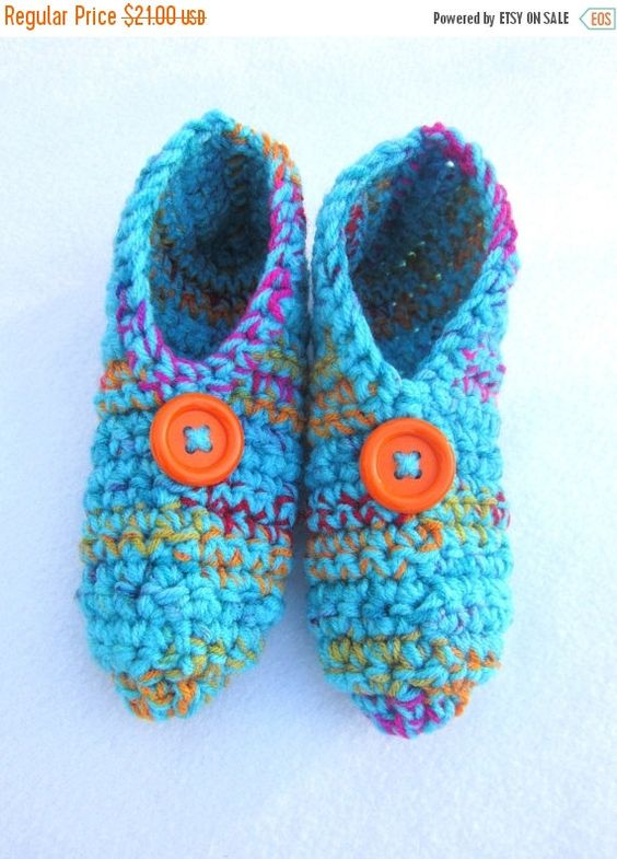 Crochet Slippers in Turqouise Blue and by crochetedbycharlene