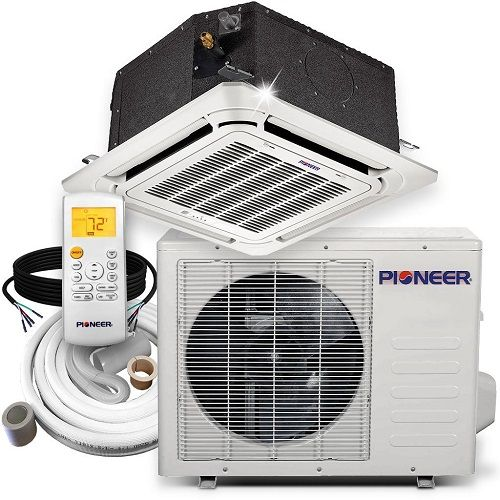 Single Zone 9000 Btu Upgrade Your Hvac System With A Mini Split System Pioneer 9 000 Btu 20 Seer 8 Way Compact C Heat Pump System Heat Pump Compact Cassette