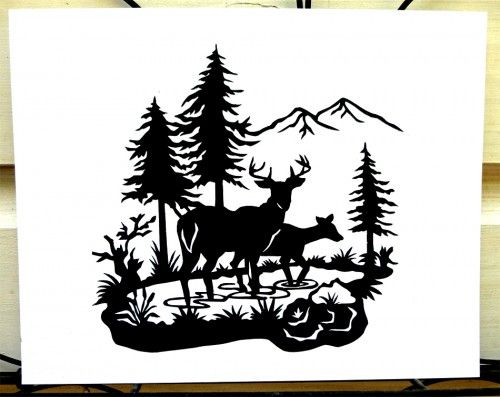 Tranquil Deer in Woods Scene Hand-cut Paper Silhouette Wall Hanging