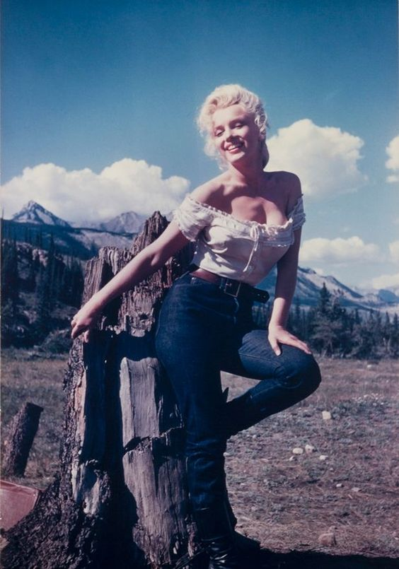 Peak performance: Marilyn looks carefree in front of mountains