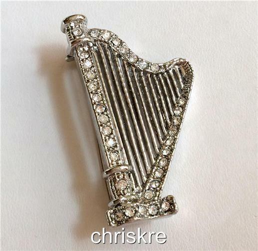 Silver Crystal Harp Pin Brooch Plated Music Irish Bridal Wedding Gift Celtic Usa Laurenspencer Musician Jewelry Musician Gifts Irish Celtic Jewelry