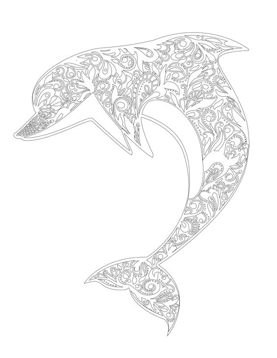 hard dolphin coloring pages - photo#16