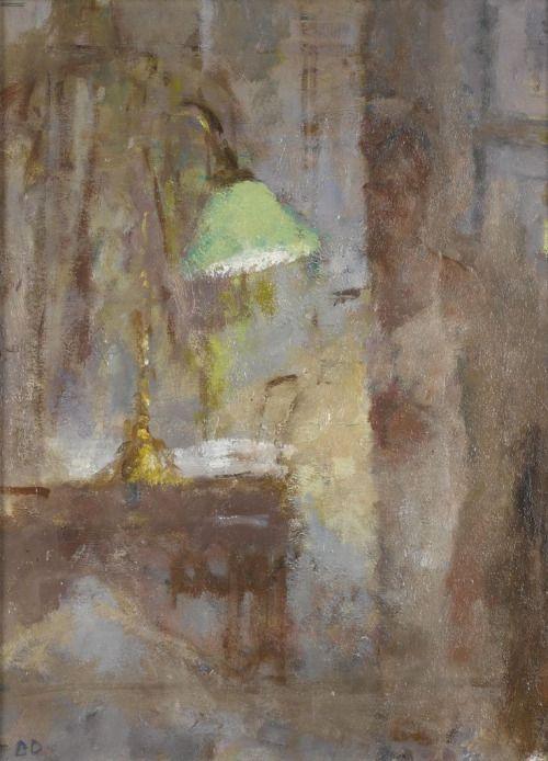 Green lamp and door - Bernard DunstenBritish b,1920-