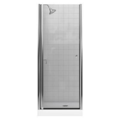 Kohler Fluence 30 1 4 In X 65 1 2 In Semi Frameless Pivot Shower Door In Bright Silver With Handle K 702400 L Sh Shower Doors Shower Door Seal Shower Door Installation