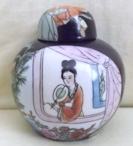 Beautiful Vintage Hand Painted Chinese Ginger Jar with Floral/Figural Design