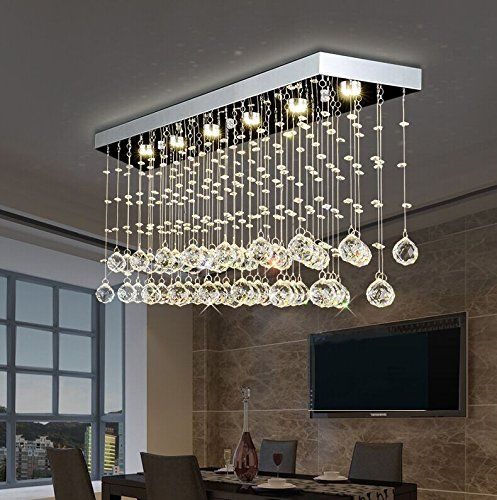 Moooni Rectangular Crystal Chandelier Lighting Modern Ceiling