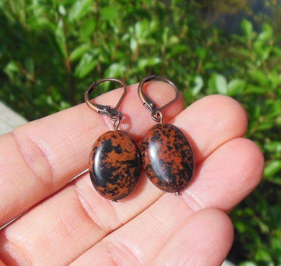 Mahogany Obsidian Earrings  gemstone  stone  by MySoulCanDance