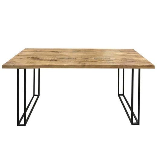 Industrial Large Dining Table 175cm Light Mango Metal Dining
