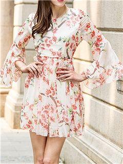 Ericdress Flare Sleeve Print Casual Dress
