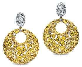 Gumuchian Earrings of Yellow Sapphires & White Diamonds from the Cloud 9 Collection Photo Courtesy of Dorfman Jewelers